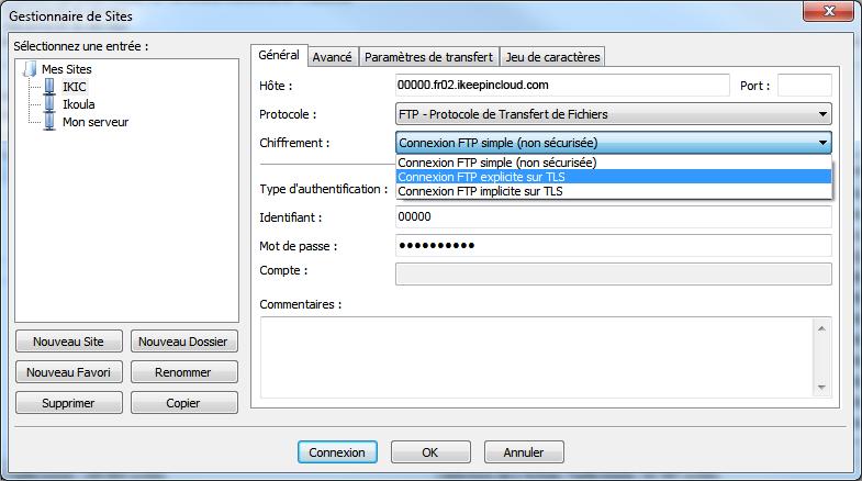 Transferts ftp(s) et sftp sur votre stockage en ligne avec Filezilla - 4