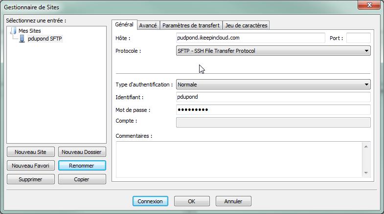 Le transfert en SFTP sur votre stockage en ligne - 5