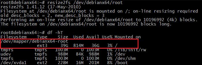 CloudStack, taille partition linux, linux, instance GNU linux