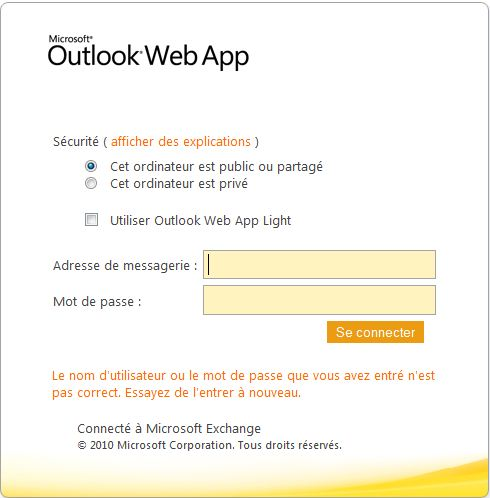 Outlook Web Access webmail web mail portail interface