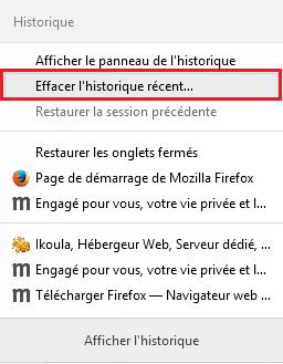 vider cache supprimer historique cookies temporaires navigateur internet explorer google chrome mozilla firefox opera